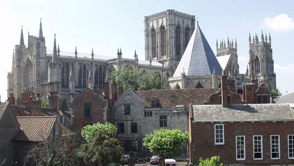 York Minster and Treasurers House viewed from the York City Walls walk