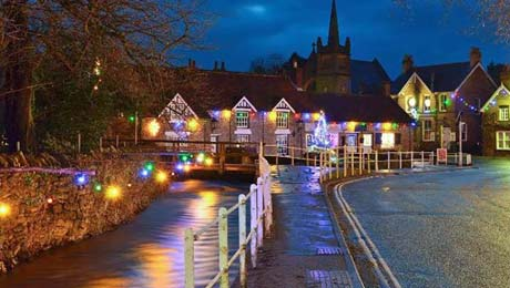 Explore pretty Yorkshire villages illuminated for Christmas from York Caravan Park